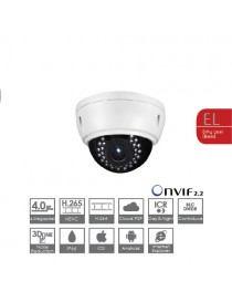 VDOME IP,4MP,2.8-12,IR20,12V,POE H265,BI