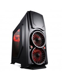 Case Itek m.tower gaming bi-turbo, usb3, 2x12cm red fan, trasp wind, docking hot swap hdd/sdd - no alim. bk